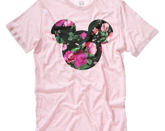Mickey Mouse rose floral print t-shirt in soft pink