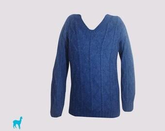 Geometric blue handmade sweater