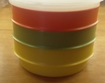 Vintage 1970's Set of 3 Small Bowls With Storage Lids Orange, Yellow,Olive