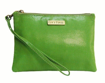 Leather Wristlet, Green Leather Clutch, Leather Cosmetics Case, Leather Pouch, Mobile Phone Pouch, Leather Clutch Wristlet