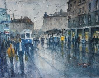 Loewenplatz  - Original Watercolor Painting of Zurich Street Scene