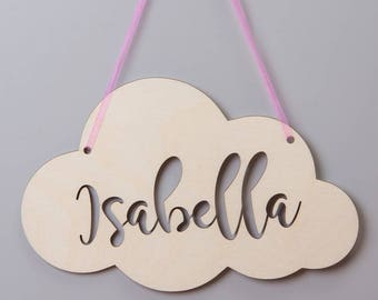 Personalised Birch Wood Cut Out Name Cloud Hanging Sign