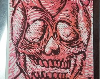 Love Skull Lino Print