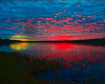 Sunset on Lake Jacomo, Jackson County, near Blue Springs, Missouri, USA,  - Canvas Gallery Wrap