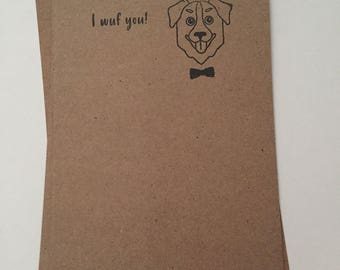 Love Hipster Dog Notecards - Handmade - Recycled - Brown Bag Paper - Stationary
