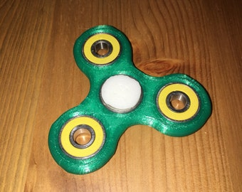 Hand Spinner - Complete, Green and White Tough Armor, Yellow Bearing Build