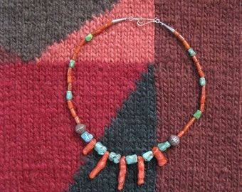 Coral and Turquoise Necklace, Southwest Jewelry, Affordable Southwest Jewelry, Choker Necklace