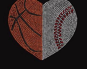 Basketball & Baseball Heart Rhinestone Iron on Transfer                                KJMB