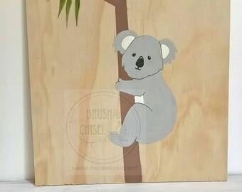 Nursery wall decor, handpainted koala, wood nursery art