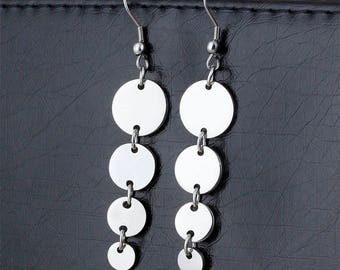 Stainless Steel Dangle Circle Earrings