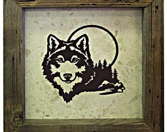103 Wolf Face, Trees, Moon Sandblasted on Marble