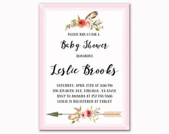 Boho Baby Shower Invitation, Black, White and Pink Baby Shower Invitation, Floral Baby Shower Invite, Baby Shower Invitation