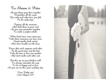 Poem for the Bride and Groom on their wedding day keepsake