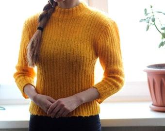 Yellow mohair sweater