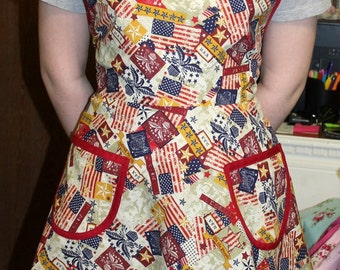 Red white and blue apron