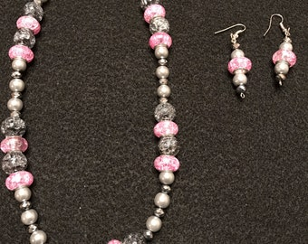 Pink, Gray, & Black Necklace / Earring Set