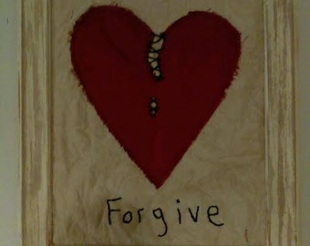 Primitive Forgive Embroidery Wall Hanging 8x10