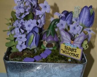 Purple gnome home artificial fairy garden