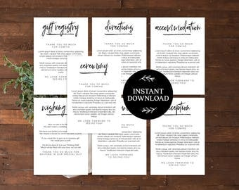 Invitation Insert Cards Template INSTANT DOWNLOAD, Enclosure, Reception, Directions, Gift Registry, Accommodations, Welcome card - Harper
