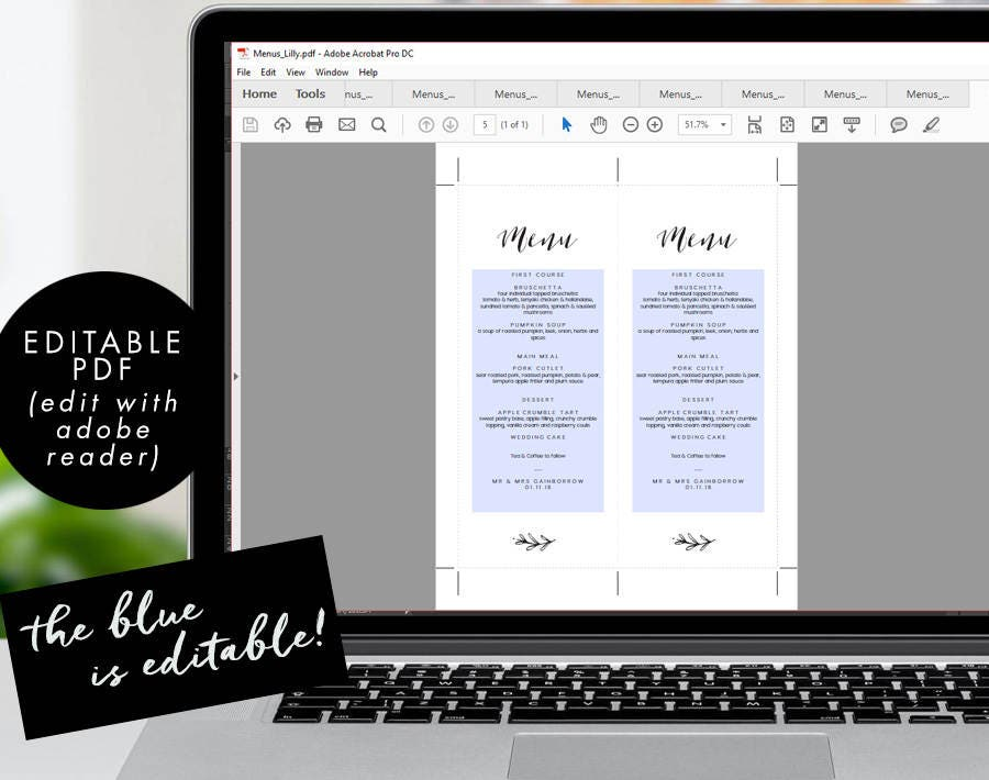 menu editable pdf template instant download rustic dinner menu