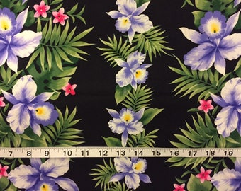 Hawaiian Fabric Black White Purple Orchids Pink Flowers Cotton By The Yard 36 Inches Long.