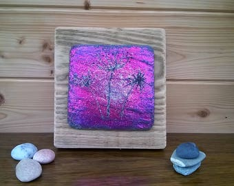 Chunky rustic seed heads glitter art on reclaimed slate and timber