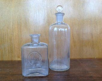 Antique Apothecary Bottle with Stopper and Vintage Perfume Bottle