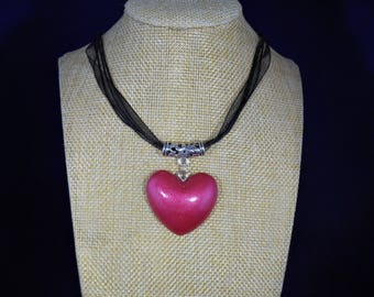 Heart choker, red heart necklace, short necklace, heart necklace, gift for women, boho necklace, for beloved, present for her, gift for girl