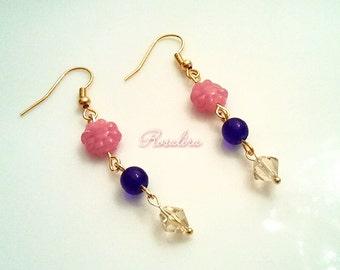 Flowers blooming in the night sky earrings Pink Blue Gold Diamond with Czech glass earrings