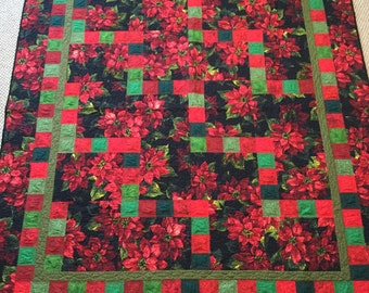 Poinsettia Quilt, Christmas Quilt, Christmas Throw, Christmas Lap Quilt, Holiday Quilt, Red and Green Quilt