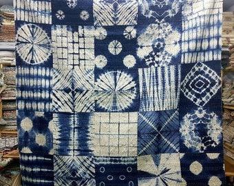 Kantha Quilt, Kantha Throw ,Vintage Hand made kantha  quilt vintage throw Queen size Throw little indigo patch quilt throw