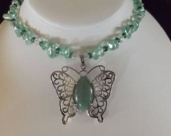 Butterfly Pendant with Green Accents