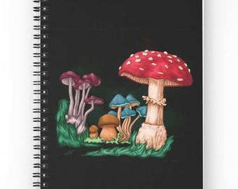 Spiral notebook for journal sketch zentangle - mushrooms