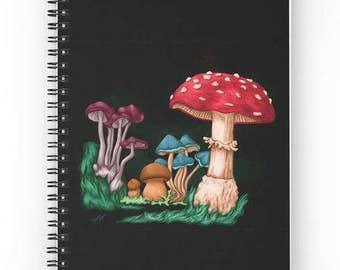 Spiral notebook for journal sketch zentangle - mushrooms
