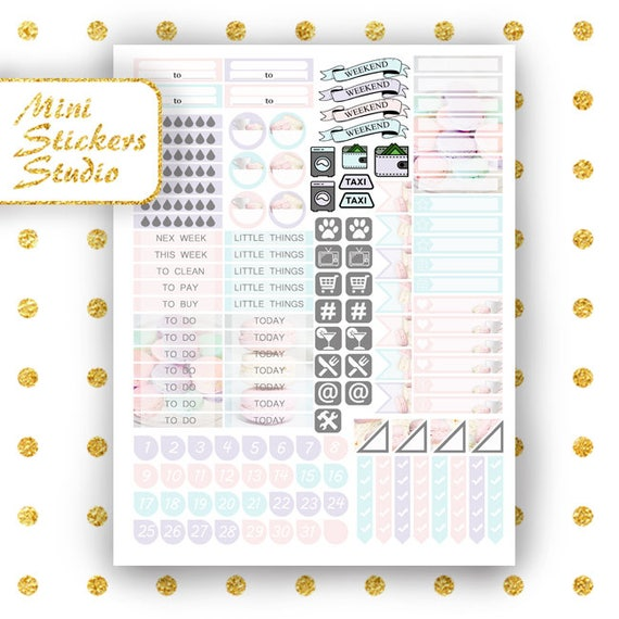 Macaroon & Coffee BIG Happy Planner Printable Stickers