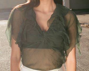 Vintage Sheer Forest Green Silk Gauze Top