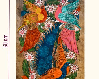 Table of birds on Amate paper / Pintura de Pajaros in papel amate