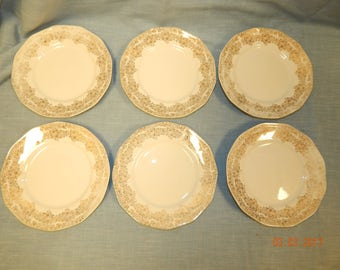 "ROYAL CHINA Warranted 22K Gold DUANE Pattern 6 3/8"" Plates 6 Total National Brotherhood of Operative Potteries"