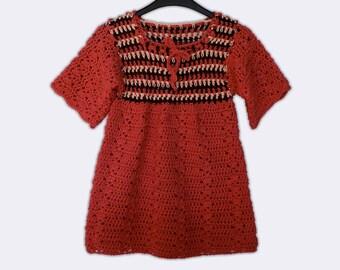 Red Tunic Dress Hand Knit Baby Dress Cotton Tunic Dress Baby Knit Outfit Summer Tunic Dress Hand Knitted Dress Baby Knitwear Party Tunic