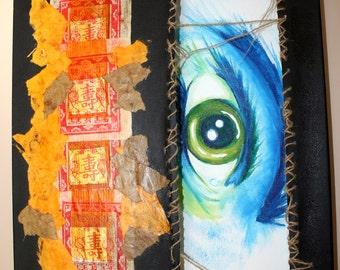 Blue, Orange, Gold, Eye Acrylic 3D painting