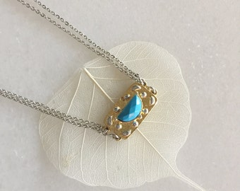 December birthstone, Double Chain Minimalist Necklace, Turquoise necklace, Gold necklace, Girl Gift, Dainty Gemstone Necklace, For her