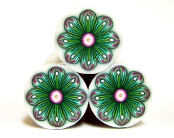 Polymer clay flower cane: Special offer, Raw polymer clay cane, Millefiori cane supplies, Green-magenta flower cane, Supplies for jewelers