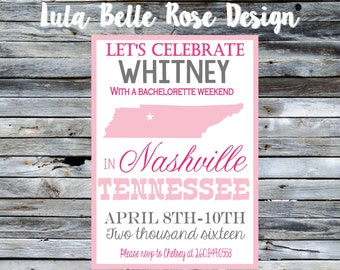 Nashville Bachelorette Invitation, Last fling before the ring, Nashville Bachelorette