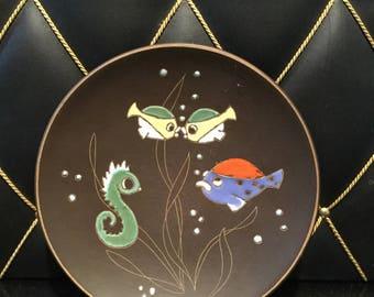 Midcentury 50s 60s Wand Keramikbild, Fisch dekor, wall ceramics, fishes, signed
