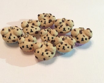 Cute handmade polymer clay bear muffin charms