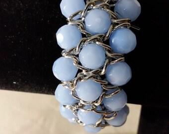Baby Blue Glass Crystal Stretch Bracelet