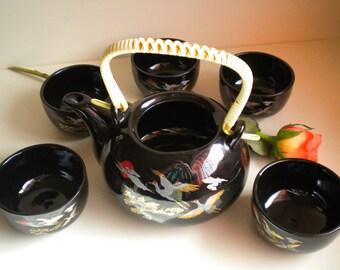 "Teapot and 5 cups of tea ""Japanese"" motif, Black ceramic"