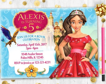 Elena of Avalor invitation printable digital birthday card Invite Princess Elena invitation Thank You Card