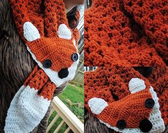Fox scarf, women's scarf, fun scarf, wood creature, winter scarf, colorful scarf