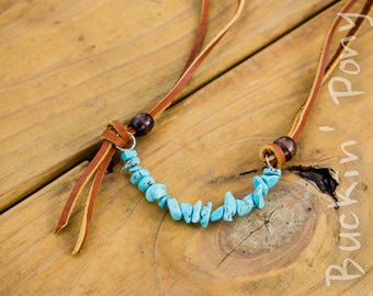 Double layered leather necklace with wood turquoise beads